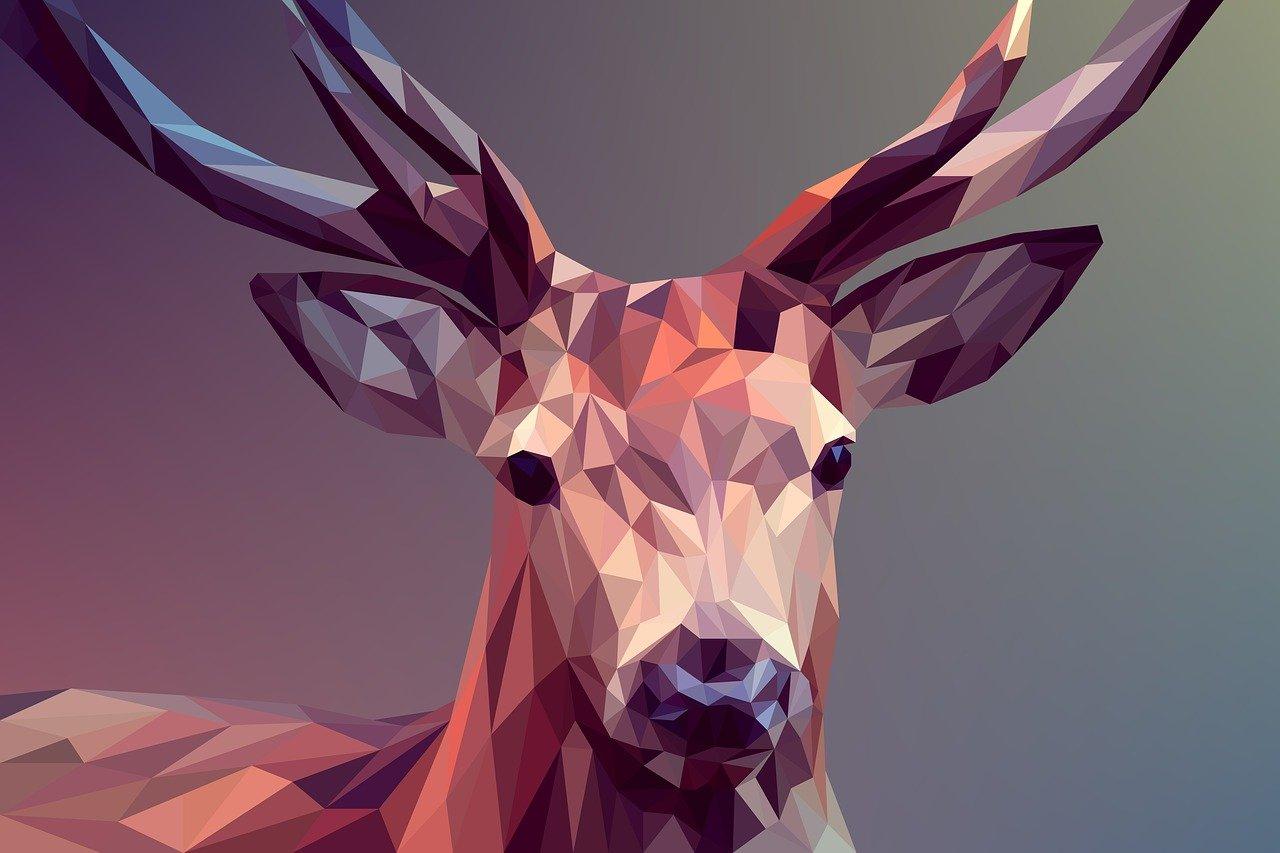 deer, polygons, art