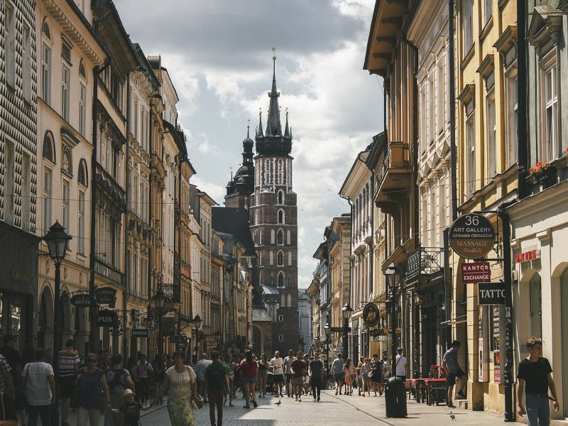 street, tower, krakow